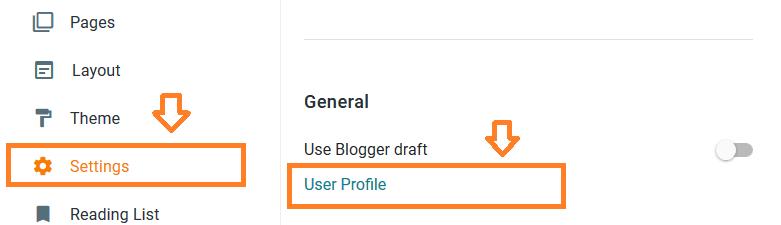 Setting Profil Blogger