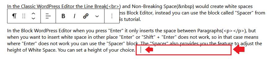 Insert Line break in WordPress Block Editor 1