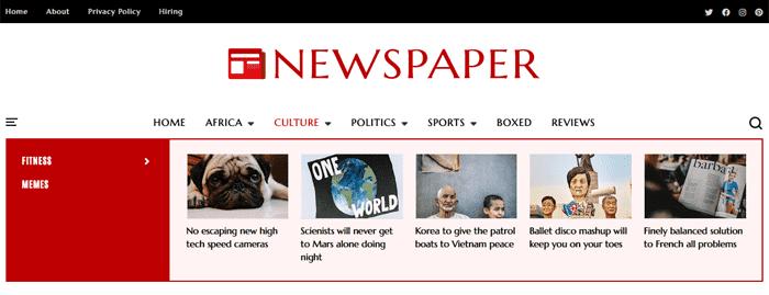 Newspaper, Classic News & Magazine Blogger Template 3